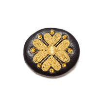 Brooch 'Tradition' of black color with Golden embroidery