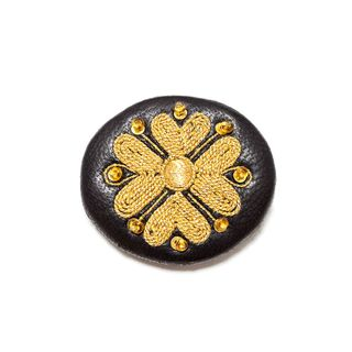 "Brooch ""Tradition"" of black color with Golden embroidery"