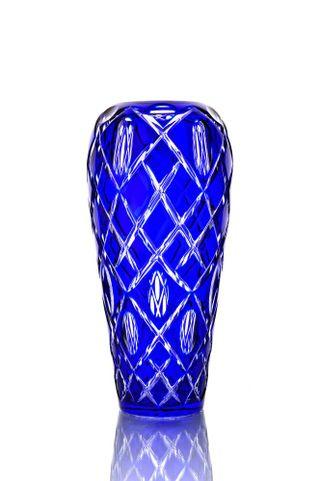 "Crystal vase for flowers ""Cascade"" large blue"
