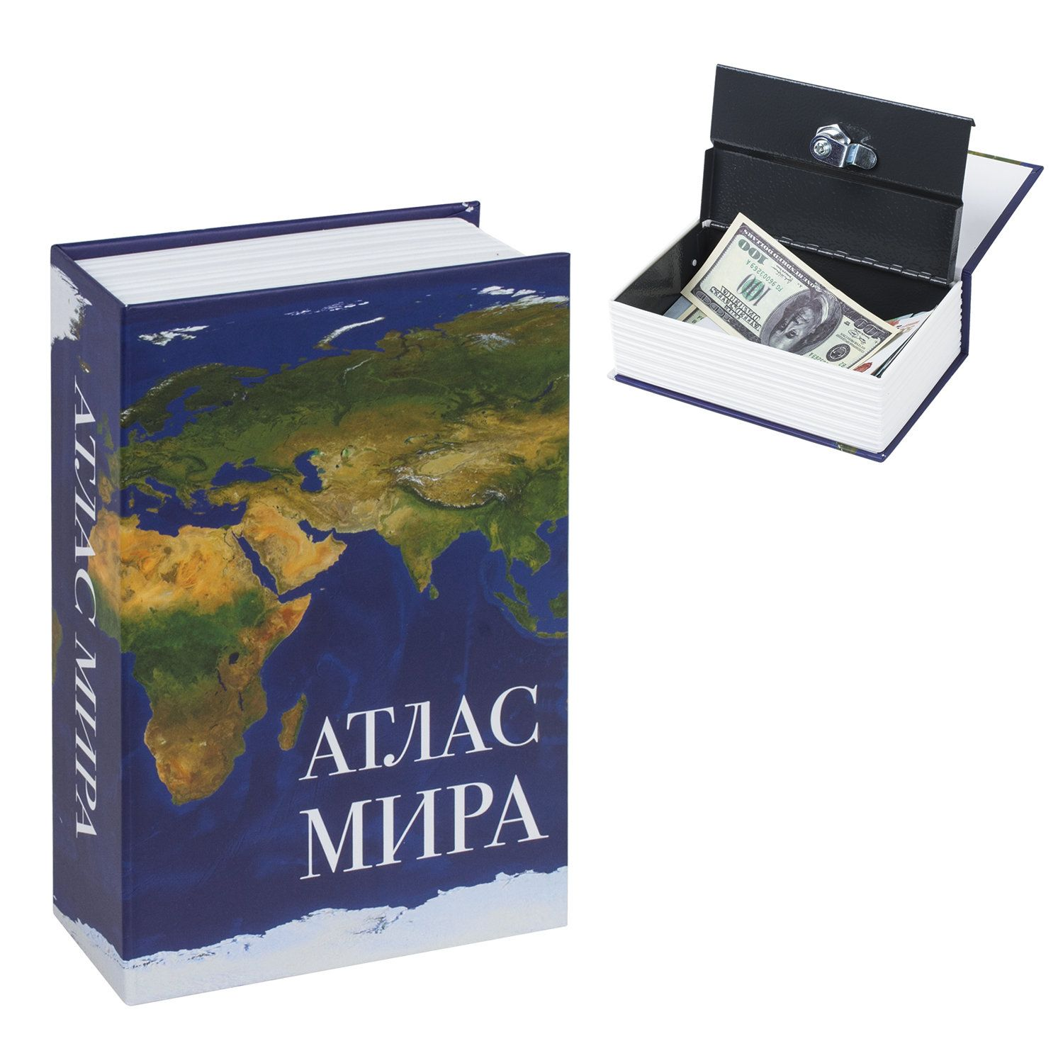 "Safe-book ""Atlas of the World"", 55x115x180 mm, key lock, BRAUBERG"