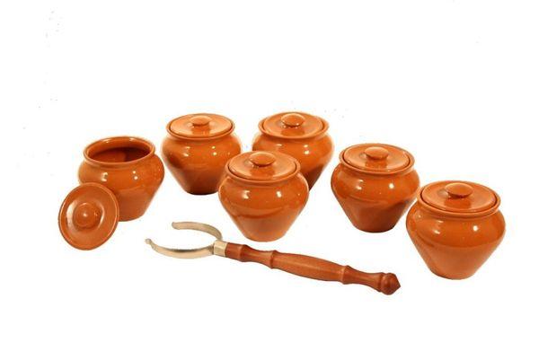 Vyatka ceramics / Set 1/3, 3 pots, 0.7 l each. (Orange)