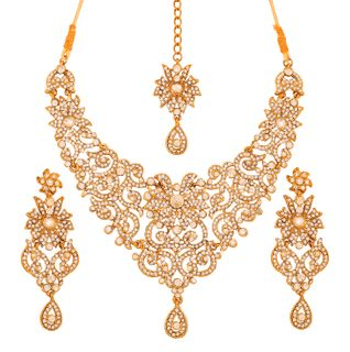 Touchstone Golden Plated  Grand Indian Bollywood White Rhinestones Bridal Jewelry Necklace Set For Women