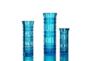 "Crystal vase for flowers ""Beads"" medium turquoise"