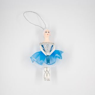 Christmas toy handmade farfara, Dancer in stage costume blue, 14 cm