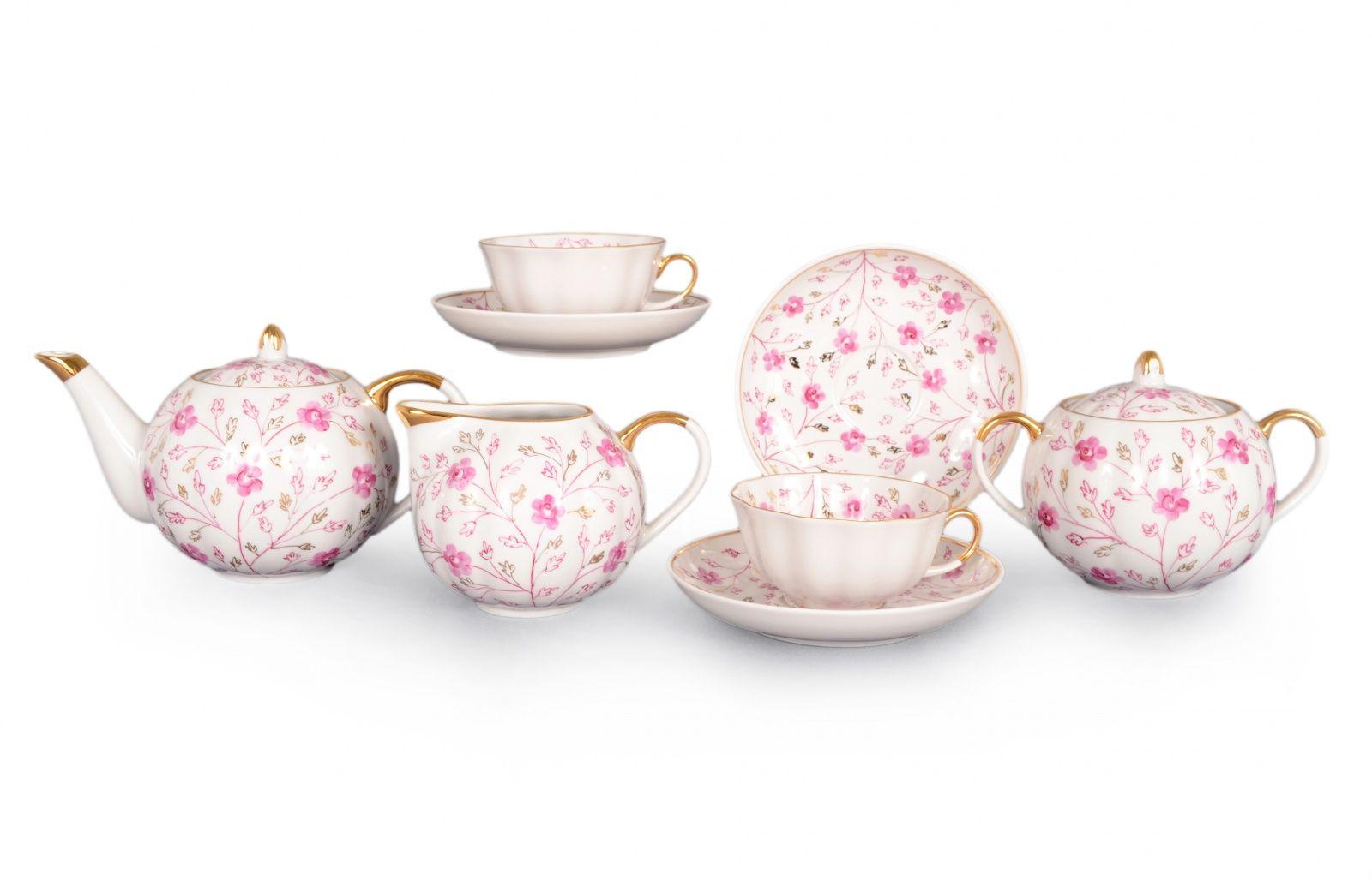 Dulevo porcelain / Tea set 15 pieces Apple blossom
