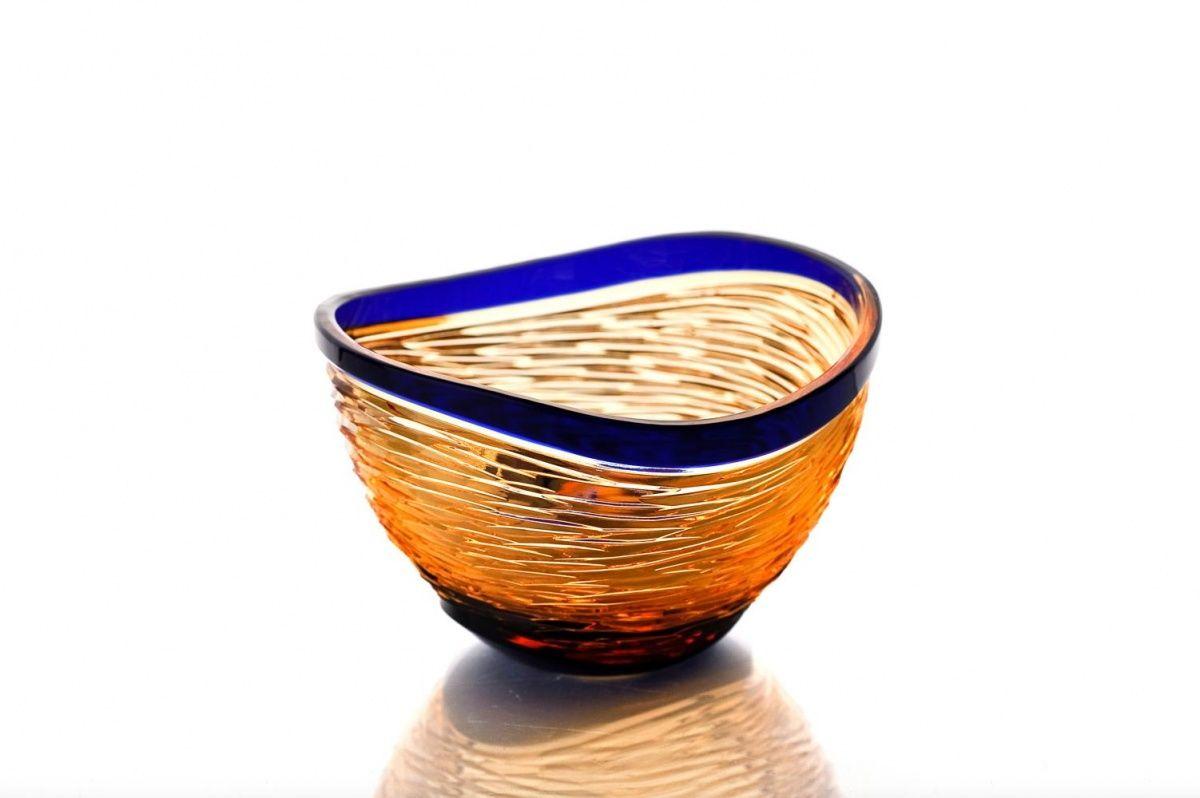 """Crystal vase for sweets """"Serenade"""" amber-blue"""