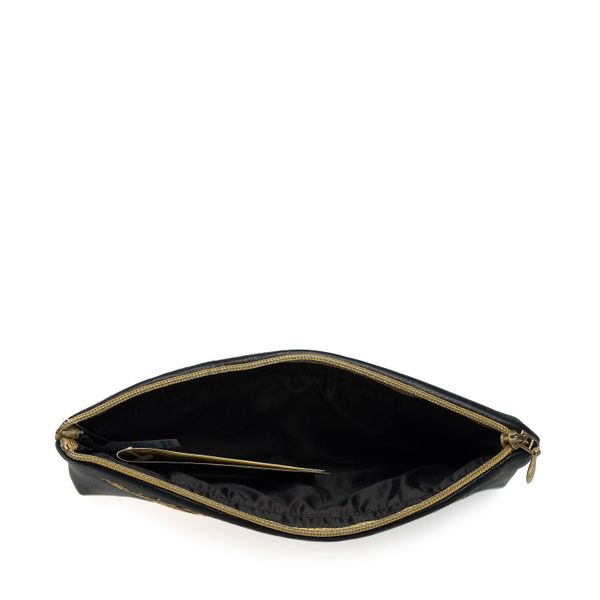 Leather eyeglass case 'Music' in black with gold embroidery