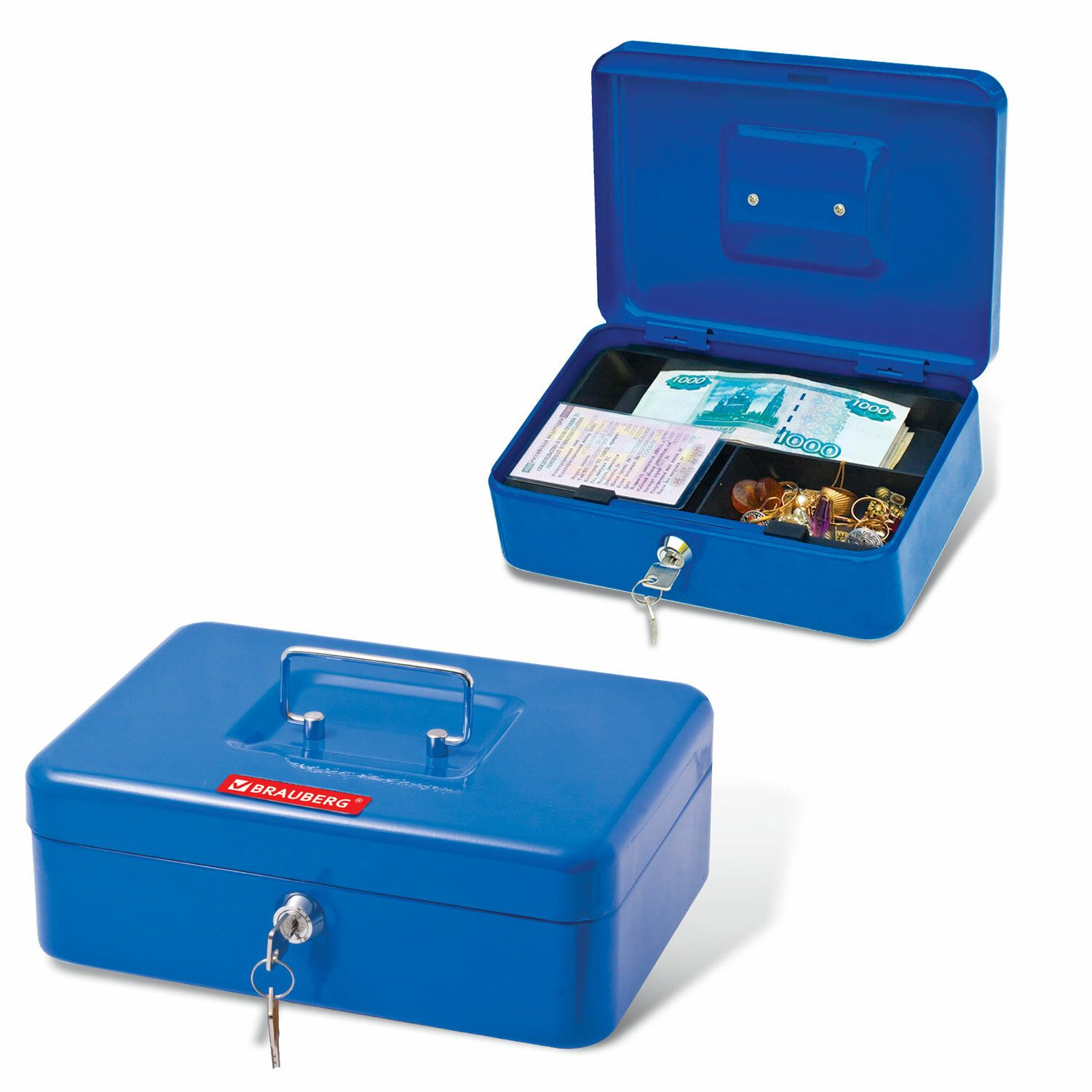 Box for money, valuables, documents, stamps, 90x180x250 mm, key lock, blue, BRAUBERG