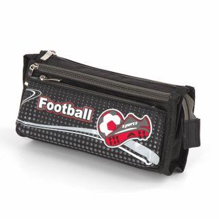 Pencil case INLANDIA for boys, 3 branches, soft, Football, black, 20х7х9 cm