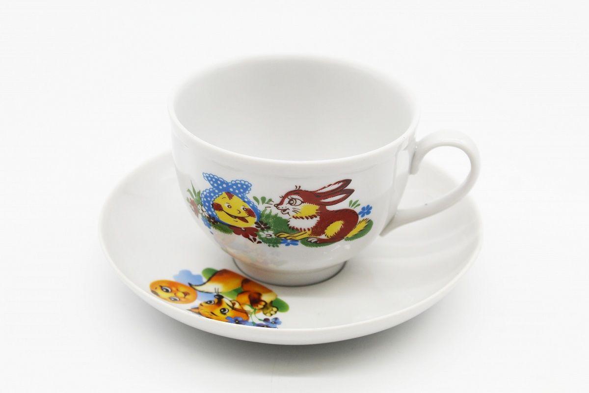 Dulevo porcelain / Set of tea cup with saucer, 12 pcs., 275 ml Pomegranate Merry Gingerbread Man