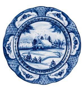 "Dessert plate oak ""Winter landscape"" diameter 200 mm original painting, Gzhel Porcelain factory"