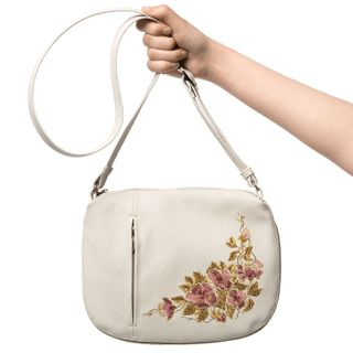 "Bag made of eco-leather ""Spring"" white with gold embroidery"
