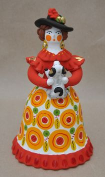 Dymkovo clay toy, the urban Lady with a dog