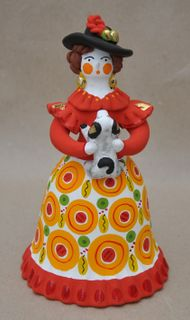 City lady in a fluffy skirt with a dog, Dymkovo clay toy