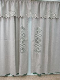 Curtains with pelmet with openwork embroidery
