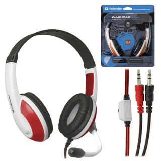 DEFENDER / Headphones with microphone (headset) Warhead G-120, wired, 2 m, stereo, white-red