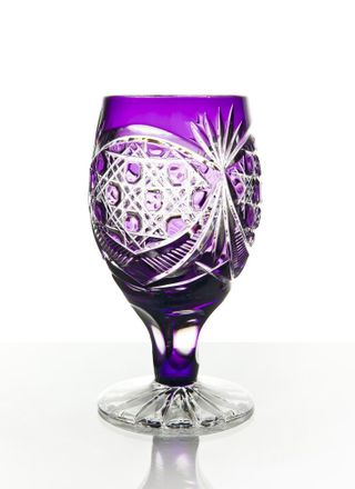 "Set of crystal glasses ""Evenings"" purple 6 pieces"