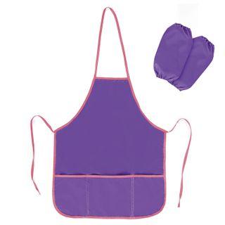 Apron with oversleeves for work and creativity PYTHAGORAS, 44х55 cm, purple