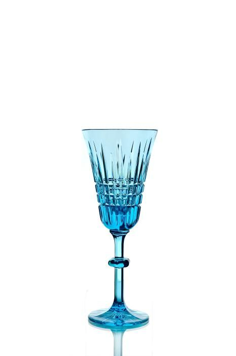 """Set of crystal glasses """"Lily"""" turquoise 6 pieces"""