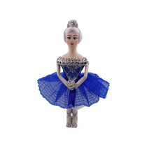 Christmas tree decoration handmade porcelain Ballerina in stage costume blue, 14 cm