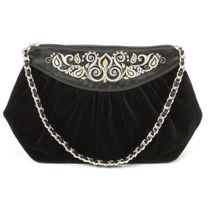 Velvet bag 'Lady's Caprice' in black with silver embroidery