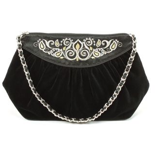 "Velvet bag ""Lady's Caprice"" in black with short handle"