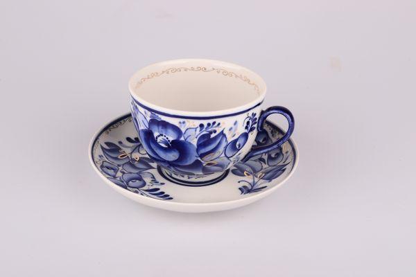 Dulevo porcelain / Tea cup and saucer set, 12 pcs., 275 ml Pomegranate Flowers Gold
