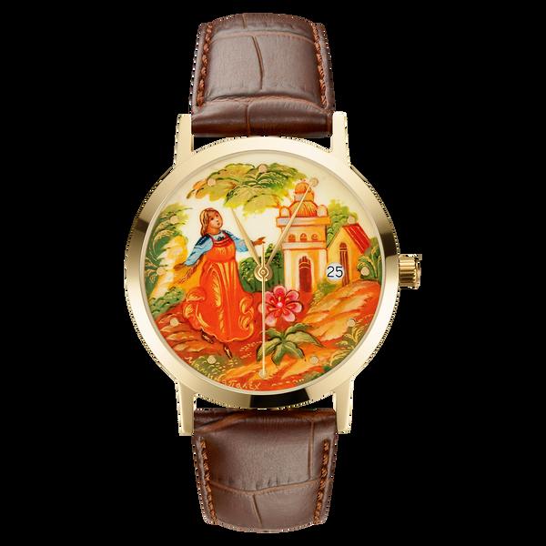 """Palekh watch """"Scarlet Flower №53"""" quartz, hand-painted, artist Mamina, braun band"""