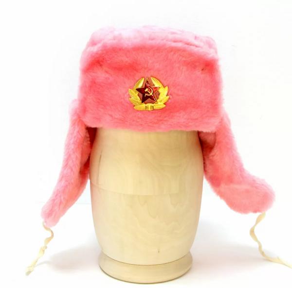 Matryoshka Factory / Pink ushanka hat with cockade