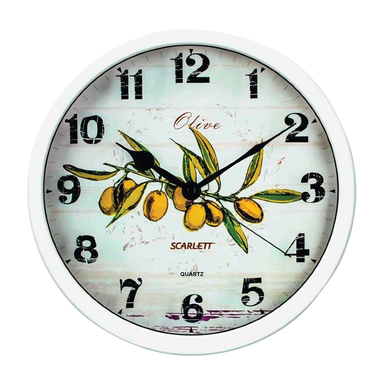 "Watch SCARLETT SC-WC1005K, round, white with a pattern ""olive"", white frame, 31x31x5,2 cm"