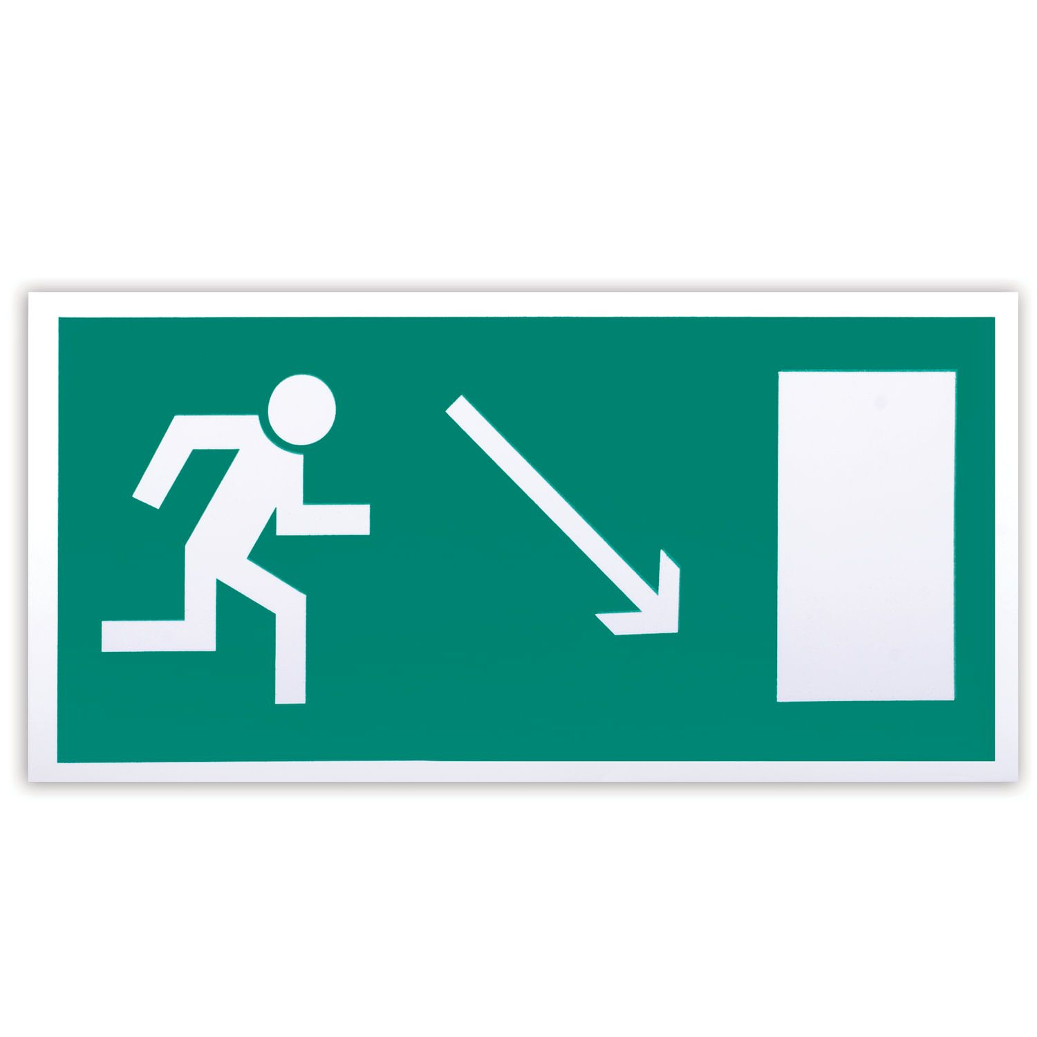 """Evacuation sign """"Direction to the evacuation exit to the right downward"""", 300x150 mm, self-adhesive, photoluminescent"""