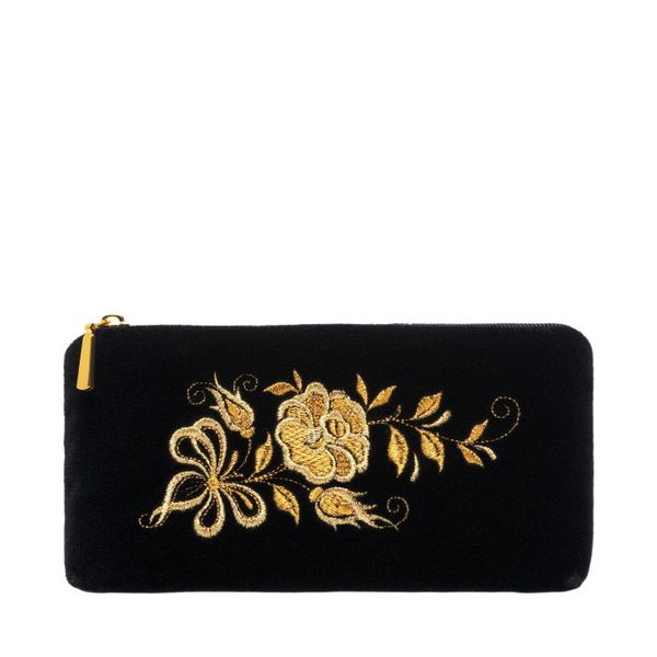 Velvet eyeglass case 'Tea rose' in black with gold embroidery