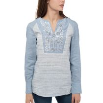 Women's blouse 'Grisaille' blue with silk embroidery