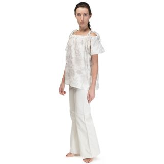 """Women's blouse """"Dion"""" gray with ornament and short sleeve"""