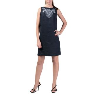 Women's dress city blue with silver embroidery