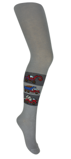 Children's tights with a pattern  KR-m042 Building gray