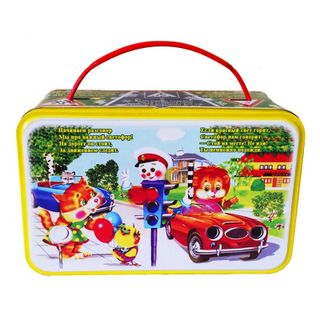 """New Year's gift Suitcase """"Traffic rules"""", a set of chocolates 600g."""