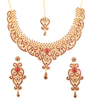 Touchstone Indian Bollywood Fine Filigree Red Faux Ruby Grand Bridal Jewelry Necklace Set In Antique Gold Tone For Women.