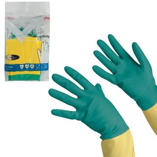 VILEDA / Latex household gloves with cotton dusting, extra durable (neoprene), size XL (very large)