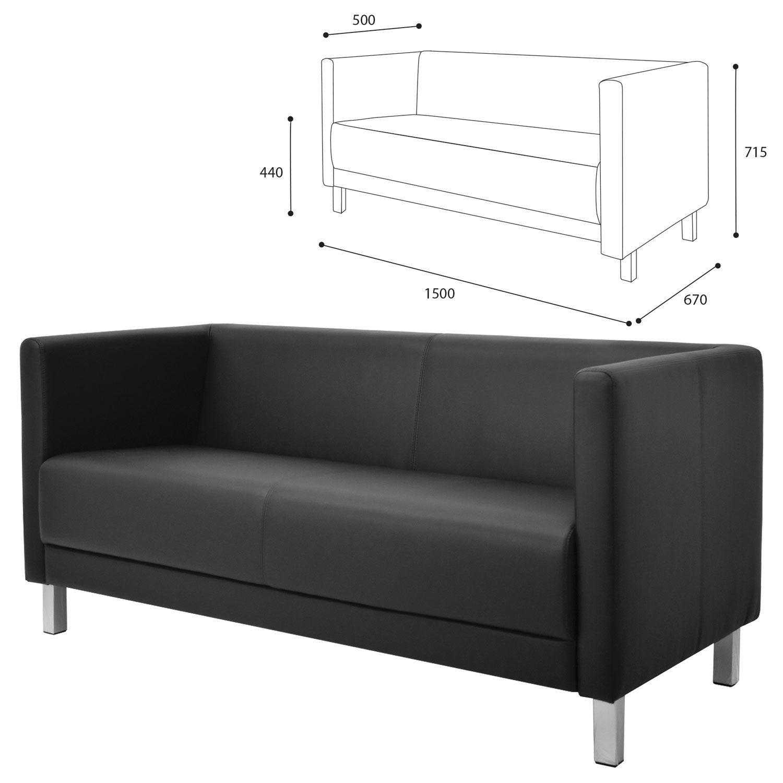 "GARTLEX / Sofa soft three-seater ""Atlanta"", ""M-01"", 1500х670х715 mm, with armrests, eco-leather, black"
