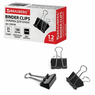 The holders BRAUBERG, SET 12 PCs, 25 mm, 100 sheets, black, cardboard box