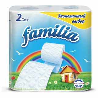FAMILIA / White toilet paper, 2-layer (4x16.2 m), solder 4 pcs.