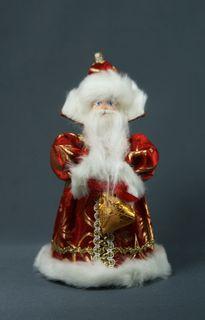 Nursery doll souvenir. Santa Claus. Fairytale character. Wood, textile.