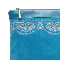 Suede cosmetic bag 'Sunrise' blue with silver embroidery