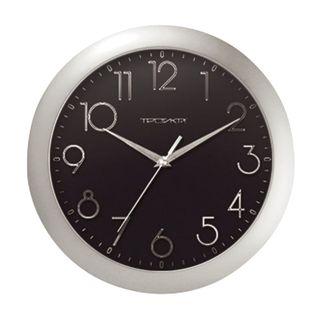 Wall clock TROYKA 11170182, round, black, silver frame, 29х29х3,5 cm