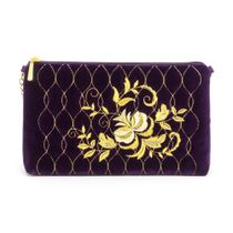 Velvet clutch 'Rosalia' purple with gold embroidery