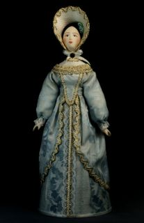 Doll gift porcelain. The lady in secular costume. The middle of the 19th century. Petersburg. The European fashion.