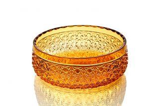 "Crystal salad bowl ""Bratislava"" large amber"