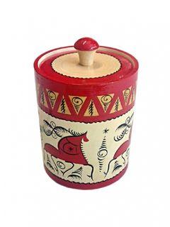 """Wooden barrel """"Mezen painting"""" 12 cm"""