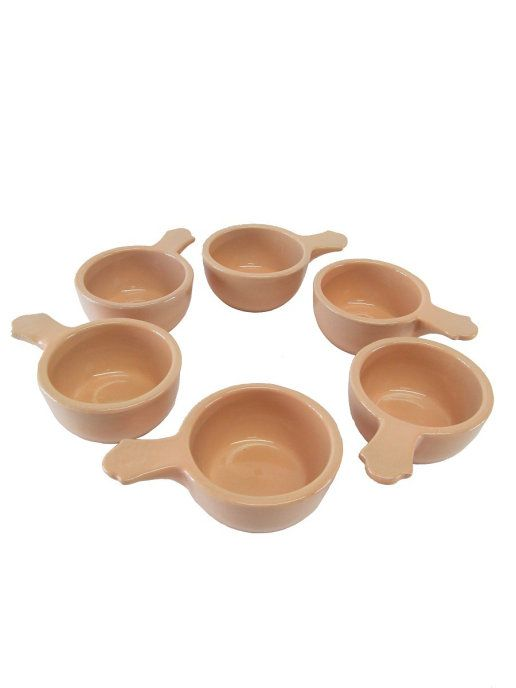 Vyatka ceramics / Set of 6 cocottes, with a capacity of 0.1 l. (beige)